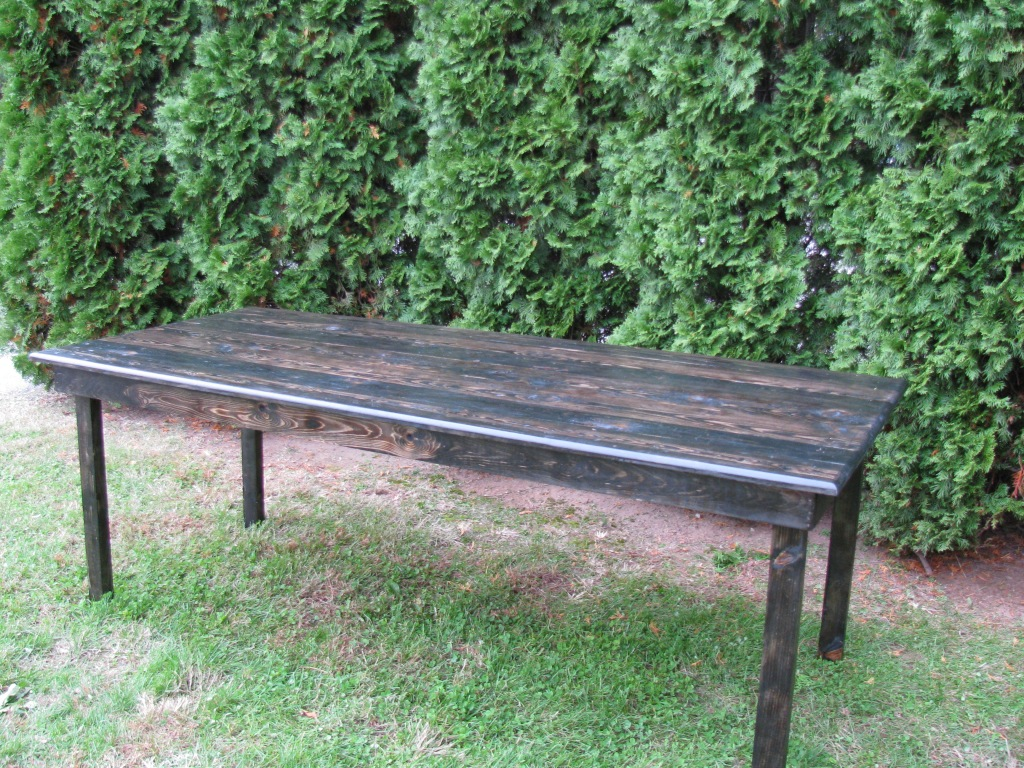 wood family style table available for rent from jacki and jaimeson