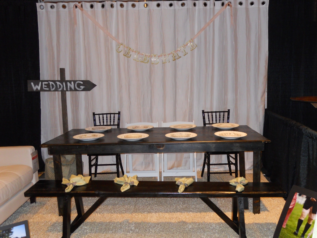 wooden table available for rent from jacki and jaimeson